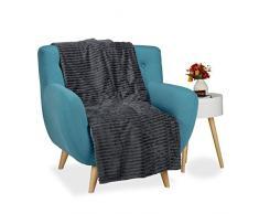 Relaxdays Couverture polaire couvre-lit moelleux housse canapé fauteuil jetée de lit plaid 150 x 200 uni, anthracite