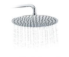 Relaxdays Pommeau de douche rond pluie tête de douche 300 mm pomme en inox effet miroir brillant, argenté