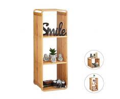 Relaxdays bambou, salle de bain, étagère sur pieds arrondie, carrée, différentes tailles, nature 4 étages, 96 x 33 x 33 cm