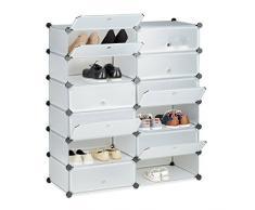 Relaxdays 10021979_50 Meuble Chaussures Fermé Rangement 12 Casiers Plastique Chaussures Modulable DIY Hxlxp: 108x94x37 cm, Plastique, Transparent, 37 x 94 x 108 cm