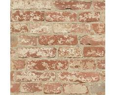 Thedecofactory RMK9035WP Papier Peint AHESIF REPOSITIONNABLE Brique Orange Vinyle, Multicolore, 500 x 53 x 0,1 cm