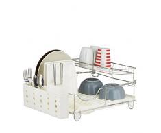 Relaxdays Egouttoir à vaisselle avec porte couvert plastique inox grille assiette étage HxlxP: 22 x 50,5 x 34 cm- beige