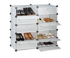 Relaxdays Meuble chaussures cubes rangement 10 casiers plastique chaussures modulable DIY HxlxP: 90x94x37 cm, transparent