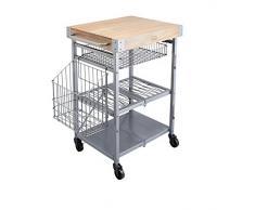Kitchencraft industriel pliant chariot de rangement de cuisine avec planche à découper en bois, 80 x 51 x 90 cm (80 x 50,8 x 90,2 cm), EN ACIER Carbone, gris, 83 x 51 x 91 cm