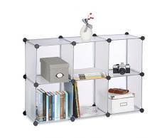 Relaxdays Étagère rangement 6 casiers plastique modulable DIY assemblage plug in bibliothèque HxlxP: 65 x 96 x 32 cm, transparent