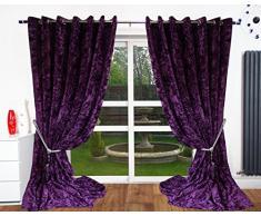 Cushion Mania Rideaux à œillets en Velours entièrement doublés pour Rideaux Neuf (90 x 108, Violet)