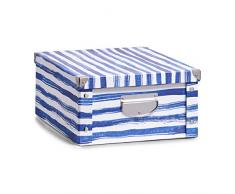 Zeller 17573 Boîte de rangement Blue Stripes Boîte de rangement en carton décor, 40 x 33 x 17 cm