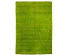 Morgenland Gabbeh Tapis FENTH 200 x 200 cm carré Vert Bordures design Tapis en laine douce fait main Loribaft Oriental Moderne
