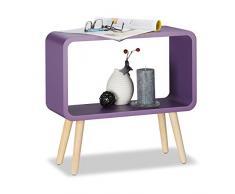 Relaxdays Meuble commode rétro HxlxP: 50x53x20 cm table chevet sans tiroir étagère bois MDF, violet