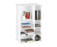 Relaxdays Étagère cubes rangement 8 compartiments plastique modulable DIY bibliothèque, blanc