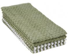 Home Passion Lot de 6 Torchons éponge Couleur Vert, 100% Coton, Taille 45x65 cm