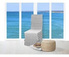Soleil docre Housse de Chaise Jacquard COTONADE Gris Anthracite, Polyester Coton, 48x35 cm