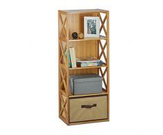Relaxdays Etagère en bambou 4 niveaux avec panier de rangement bois nature HxlxP: 105 x 42 x 29 cm, nature