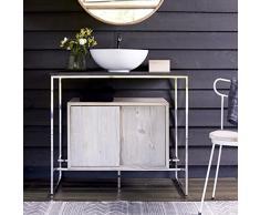 tikamoon alexi meuble salle de bain avec vasque pin beige 90 x 60