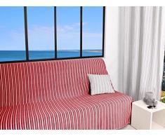 Soleil docre Cotonade Jeté de Canapé Polyester Coton Rouge 170 x 250 cm
