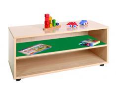 Mobeduc 600101HP21 Meuble Enfant superbajo et étagère bois hêtre/Vert foncé 90 x 40 x 44 cm
