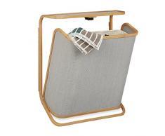 Relaxdays Panier à linge mural bambou pliable corbeille à linge sac amovible 40 litres HxlxP: 67x53,5x21 cm, nature-gris