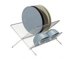 Relaxdays Egouttoir à vaisselle en inox pliable 2 étages antidérapant couvert HxlxP: 23,5 x 33 x 37 cm, argenté