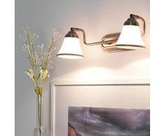 Applique murale art nouveau baignoire en bronze avec miroir en verre pivotant 2xE14 lampe de salon photo E14
