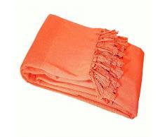 Le Jardin des Cigales Lana Jeté de Canapé A Franges Coton Tisse Corail 220 x 240 cm