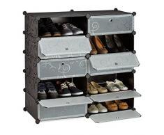 Relaxdays Meuble chaussures cubes rangement 10 casiers plastique chaussures modulable DIY HxlxP: 90x94x37 cm, noir
