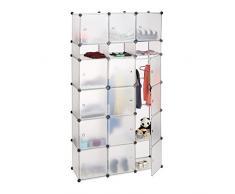 Relaxdays Étagère cubes rangement penderie armoire compartiments plastique chaussures modulable, transparent