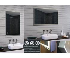 Lux de Aqua Miroir de salle de bain LED, verre, aluminium, Verre, aluminium, 100 x 65 x 3.2 cm