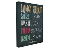 Stupell Industries le Stupell Home Decor Collection à linge Planning Tableau noir de salle de bain surdimensionné tendue sur toile Décoration murale, 24x 1,5x 30, fabriqué aux États-Unis dAmérique, tissu,