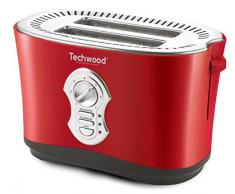 Techwood Grill Pain 2 Fentes, 850 W, Rouge
