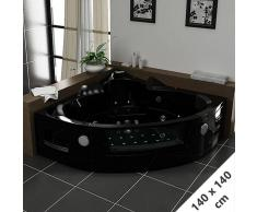 Distribain Baignoire Balnéo d'angle Maeva Black whirlpool 39 jets