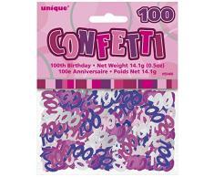 Unique Party 55466 - Confettis Glitz Roses de 100ème Anniversaire