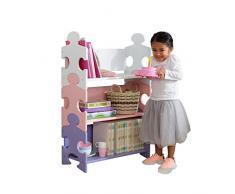KidKraft 14415 Etagère en bois Puzzle, chambre enfant, meuble de rangement incluant 3 étagères - couleurs pastels