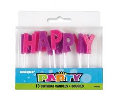 Unique Party Violet et Rose Lettre Happy Birthday Bougies, Lot DE 13