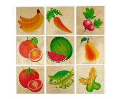 Hess Jouet en Bois 14927 - Memo en Bois Fruits et Légumes, 32 Pièces
