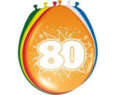 Folat Lot de 8 ballons 80e anniversaire fête décoration de Multicolore 30 cm :