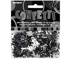 Unique Party 55221 - Confettis Glitz Noirs de 16ème Anniversaire