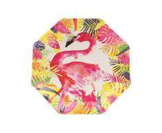 Ginger Ray FL-201 Assiettes en papier Motif flamant rose