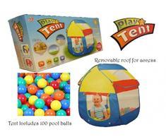 ALLKINDATHINGS Enfant bébé Tente Boule Pit Maisonnette Pop Up avec 100 Balles Boules de Billard