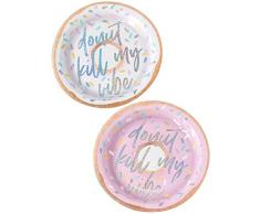 Ginger Ray GV-915 Good Vibes Assiettes en Papier Donut-2 Designs