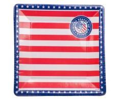 Folat USA Assiettes de fête carré de 25 cm (Lot de 8)