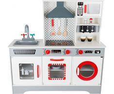 Small Foot 11081 Cuisine de luxe pour enfants en bois, avec machine à café, lave-vaisselle, lave-linge etc., à partir de 3 ans
