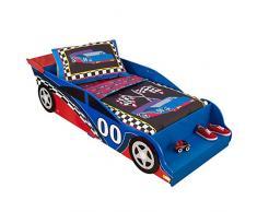 KidKraft 76038 Lit voiture de course pour tout-petits - Meuble pour chambre Cadre de lit en bois