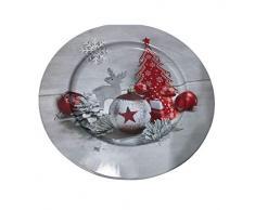 Idena 30179 Assiette de Noël Gris/rouge