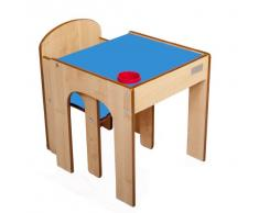 Little Helper FS01MB-Original bois FunStation bébé chaise + table de camping avec porte-stylo, 24 m, bleu
