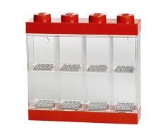 Vitrine de présentation des mini-personnages LEGO pour 8 mini-personnages, conteneur empilable contre un mur ou sur un bureau, rouge