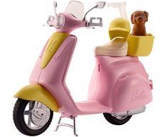 Barbie Mobilier Scooter, moto rose pour poupées, fournie avec casque et panier jaune et figurine de chien, jouet pour enfant, FRP56
