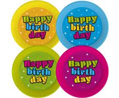 Lot de 8 Assiettes de fête « Happy Birthday » pour Anniversaire   Trend 2019 : 4 x 2 Couleurs Multicolores   Assiettes jetables pour Anniversaire denfant   Assiettes en Carton pour fête à thème