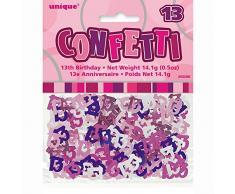Unique Party 55086 - Confettis Glitz Roses de 13ème Anniversaire