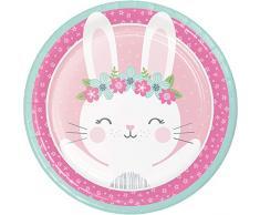 Creative Converting Fournitures de fête, Assiettes en papier lapin, Dîner, Multicolore, 8,75 , 8 ct