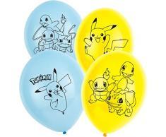 Amscan-9904826 6 ballons de baudruche Pokemon, 9904826, Jaune, Bleu Assortis, 0